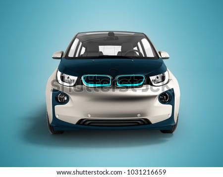 Moderna coche eléctrico oscuro azul gris frente Foto stock © Mar1Art1