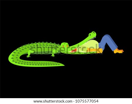 Crocodile eating man. Guy in mouth of alligator. Wild nature dan Stock photo © popaukropa