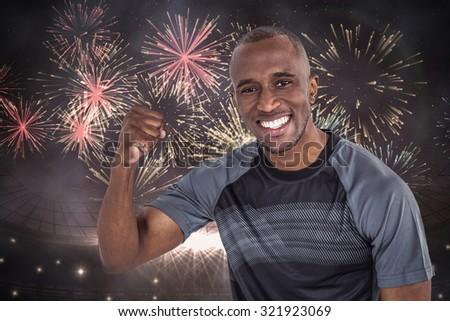 összetett kép portré sportoló éljenez siker Stock fotó © wavebreak_media