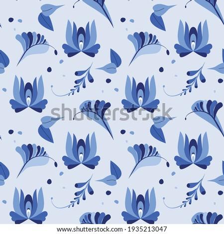 Vektor végtelen minta virágok levelek orosz stílus Stock fotó © mcherevan
