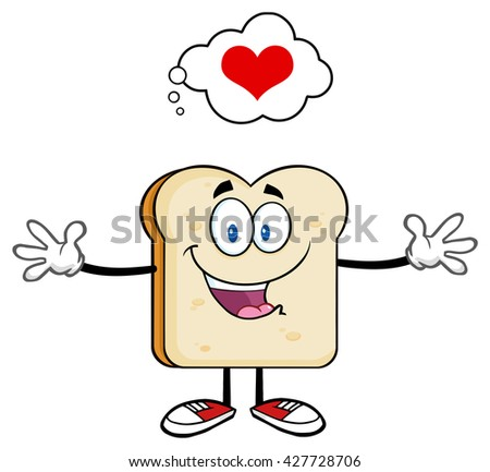 Happy Bread Slice Cartoon Character With Open Arms And A Heart Stock photo © hittoon