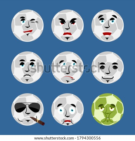 Soccer ball set emoji avatar. sad and angry face. guilty and sle Stock photo © popaukropa