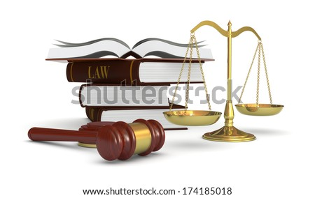 wooden gavel and book on white background isolated 3d illustrat stock photo © iserg