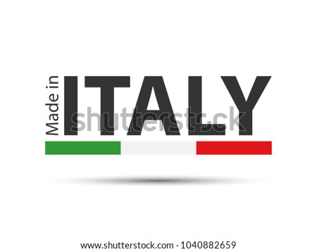 Colored symbol with Italian tricolor isolated on white background, Made in Italy, simple Italian ico Stock photo © kurkalukas