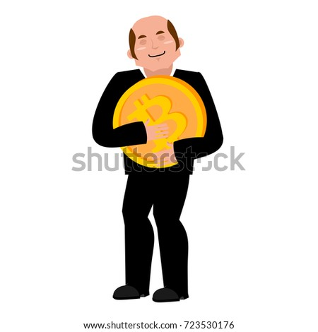 Miner bitcoin is businessman. Guy Cryptocurrency . Vector illust Stock photo © popaukropa