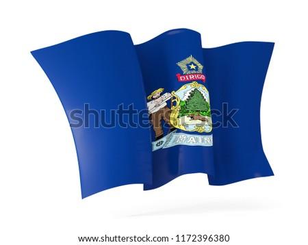 maine state flag waving icon close up. United states local flags Stock photo © MikhailMishchenko