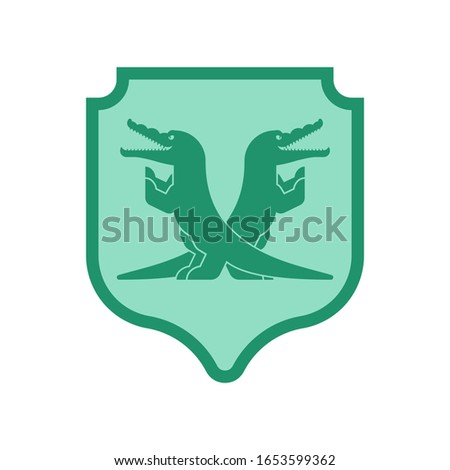 Crocodile and Shield heraldic symbol. Royal Alligator for coat o Stock photo © MaryValery