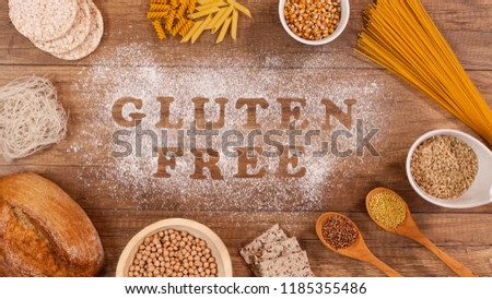 gluten free products gathering around words written in special f stock photo © lightkeeper