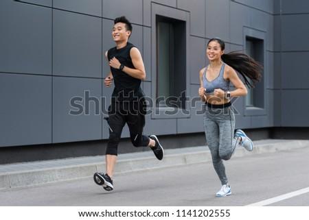 ハンサムな男 美人 ジョギング 一緒に 通り ストックフォト © boggy
