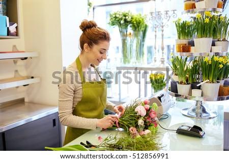 Las mujeres jóvenes negocios propietario florista artificial Foto stock © snowing