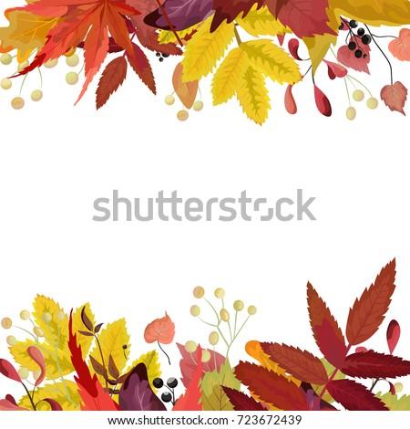 composition of autumn leaves greeting postcard invite decorative copy space stock photo © natalia_1947