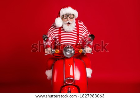 Fast delivery of Christmas gifts with Santa Claus in the space Stock photo © alphaspirit