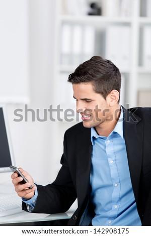 Satisfeito homem de negócios falante escrita algo Foto stock © deandrobot