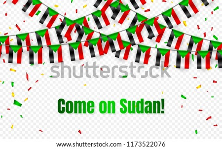 Sudan garland flag with confetti on transparent background, Hang bunting for celebration template ba Stock photo © olehsvetiukha