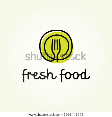 Logo vegetariano restaurantes cubiertos tenedor cuchara Foto stock © popaukropa