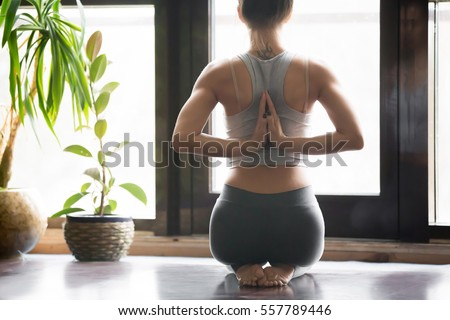 Back view of Motivated sports woman doing exercise with dumbbell Stock photo © deandrobot