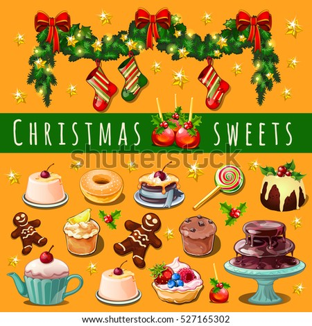 Christmas sketch assembled with abundance of sweets and pastries with Christmas decorations red ribb Stock photo © Lady-Luck
