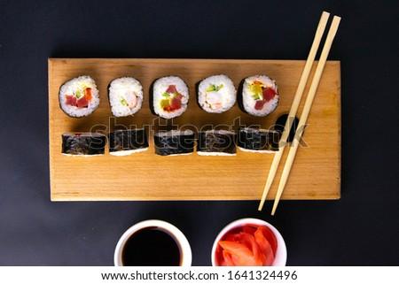 sushi · ayarlamak · farklı · ahşap - stok fotoğraf © dash