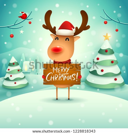 Merry Christmas! The red-nosed reindeer holds wooden board sign in Christmas snow scene winter lands Stock photo © ori-artiste