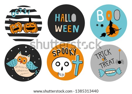 set of cute halloween pumpkins tags vector hand drawn illustration stock photo © lemony