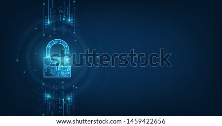 abstract technology concept cyber security with lock and digital binary circles around it. Vector il Stock photo © kyryloff