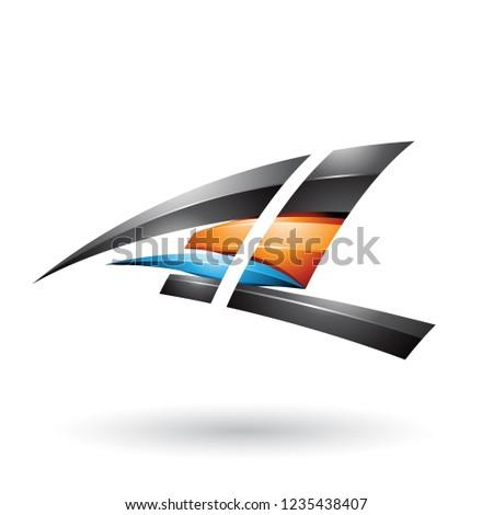 Stok fotoğraf: Siyah · turuncu · dinamik · parlak · uçan · mektup