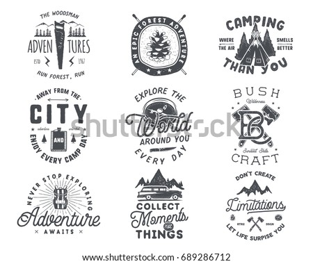 backpacking logo emblem vintage hand drawn travel badge featuring colorful flat backpack and custo stock photo © jeksongraphics