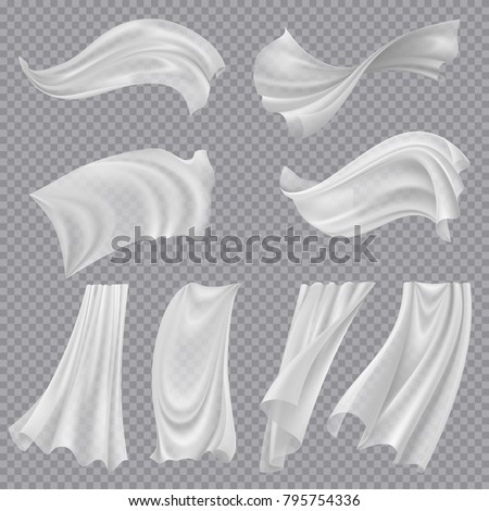 White Cloth Set Vector. Billowing Clear Curly Curtain Transparent White Cloth. Fluttering Curved Fab Stock photo © pikepicture
