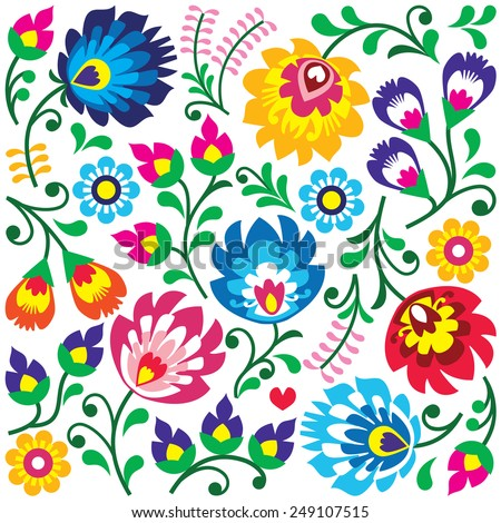 Folk art vector greeting card or invitation - Polish traditional pattern with flowers - Wycinanki Lo Stock photo © RedKoala