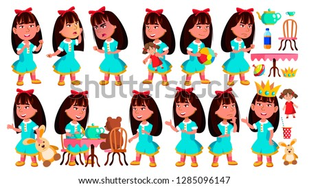 Asian Girl Kindergarten Kid Poses Set Vector. Little Child. Funny Toy. Lifestyle. For Advertising, P Stock photo © pikepicture