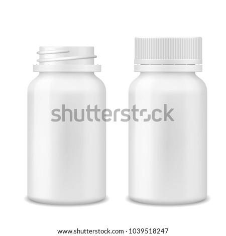 Plastikowe jar otwarte pigułki pojemnik medycznych Zdjęcia stock © MaryValery