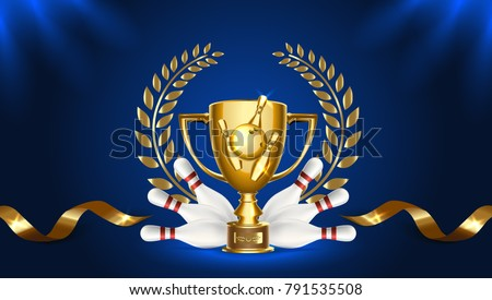 Bowling Award Vector. Bowling Ball, Golden Cup. Sports Game Event Announcement. Bowling Banner Adver Stock photo © pikepicture