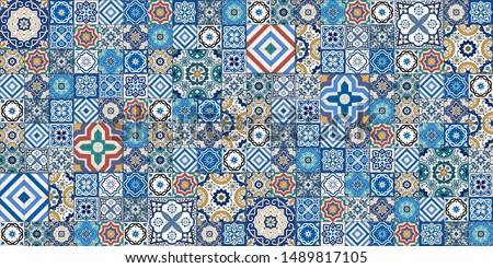 Lisbon Azulejos tile vector pattern, Portuguese or Spanish retro old tiles mosaic, Mediterranean sea Stock photo © RedKoala