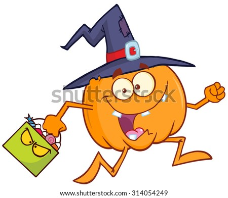 funny witch pumpkin cartoon character running with a halloween candy basket stock photo © hittoon