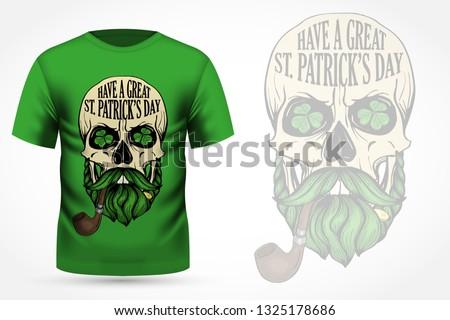 dessinés · à · la · main · jour · de · St · Patrick · carte · style · carte · de · vœux · vert - photo stock © netkov1