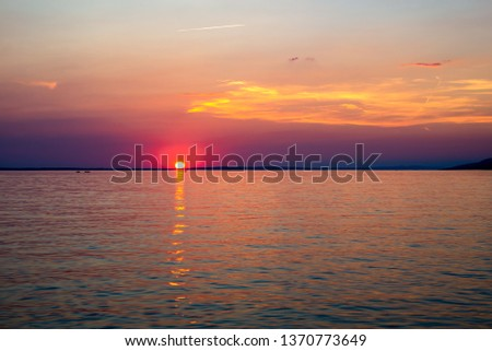 Beautiful Sunset Over Adriatic Sea Near Starigrad In Croatia Stock photo © rafalstachura