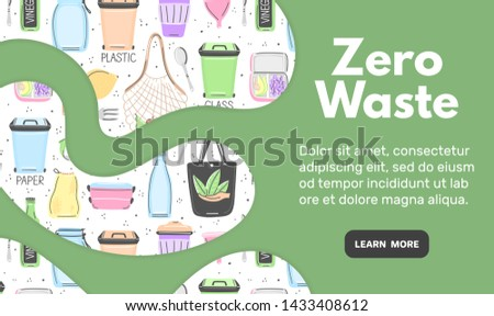 Web template with zero waste objects. Hand drawn flat style. Eco lifestyle. Save planet. Care of nat Stock photo © user_10144511
