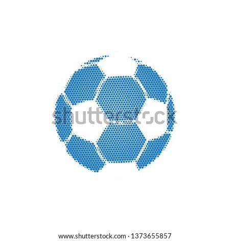 синий полутоновой футбола Flying футбольным мячом частицы Сток-фото © kyryloff