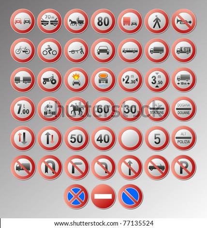 big set stop signs and traffic sign collection transparent backg stock photo © cammep