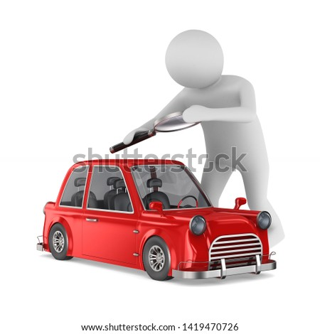 man studies red car on white background. Isolated 3d illustratio Stock photo © ISerg