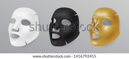 Set white, gold and black face mask, cosmetic procedures, rejuvenation, realistic vector illustratio Stock photo © MarySan