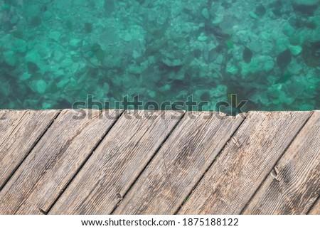 Holz Inschrift Strand Ozean Wolken Stock foto © konradbak