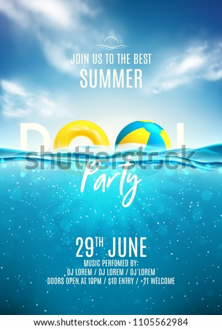 summer pool party poster design template with water beach ball and float on blue ocean landscape ba stock photo © articular