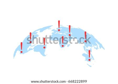 Mappa del mondo abstract allarme internazionali influenzare semplice Foto d'archivio © kyryloff