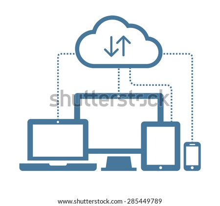 Cloud sync computing concept. Client device synchronizing data with the cloud. Vector illustration i Stock photo © kyryloff
