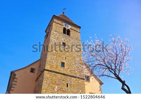 Igreja amêndoa flor Alemanha natureza rosa Foto stock © LianeM