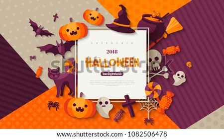 halloween cute vector greeting cards posters banner with witch and haunted house castle stock photo © marish