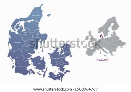 World Map of DENMARK: Denmark, Jutland, Zealand, Scandinavia, North Europe, North Sea. Geochart. Stock photo © Glasaigh