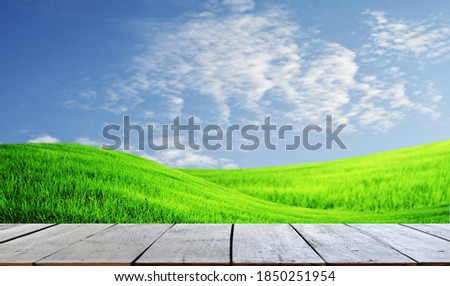 Selected focus empty old wooden table and blue sky or mountain b Stock photo © Freedomz
