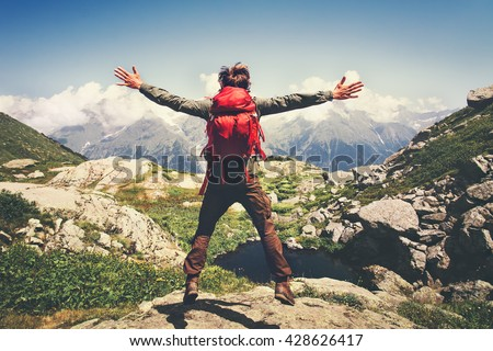 Jonge man reiziger rugzak ontspannen outdoor zomer Stockfoto © Freedomz